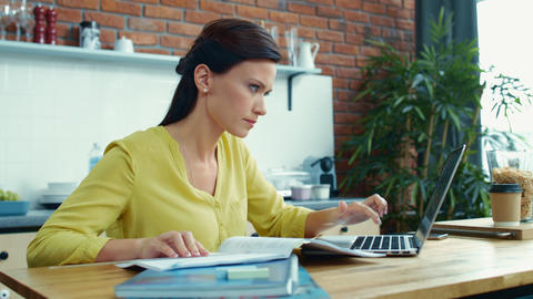 Businesswoman checking financial report. Accountant girl working with budget Live Action