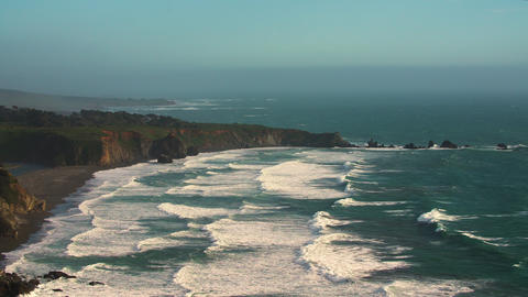 Ocean cliffs bluffs during golden hour / shoreline Live Action