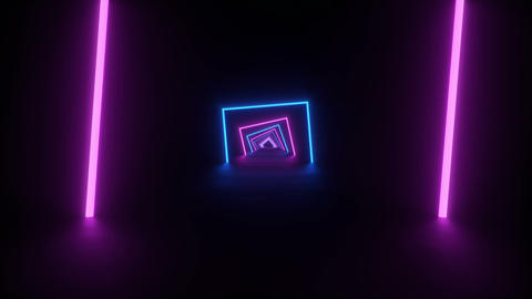 Tunnel formed by purple and blue rotating square neons on a black reflective floor, 4k looping Animation