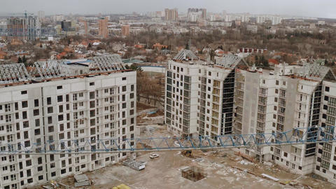 Top view of houses under construction. Aerial view of a construction site. An Live影片