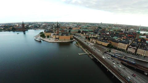 Aerial view. Stockholm. Old houses, buildings and streets. City center. Sweden.  Footage