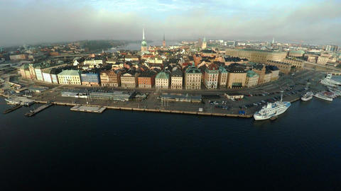 Aerial view. Stockholm. Old houses, buildings and streets. City center. Sweden.  ビデオ