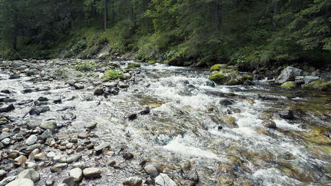 A River Flows Over Rocks Footage