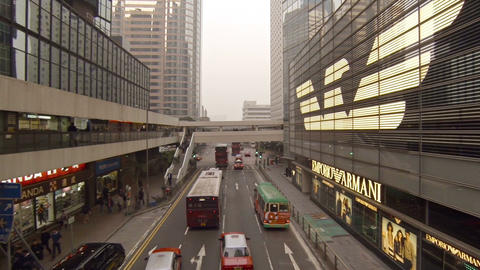 Busy. urban. commercial street in downtown Hong Kong. FullHD video Footage