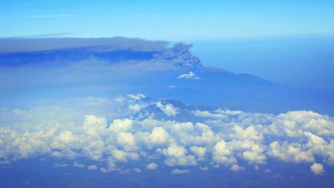 Aerial View of Smoke and Ash from a Indonesian Raung Volcano. FullHD video Footage