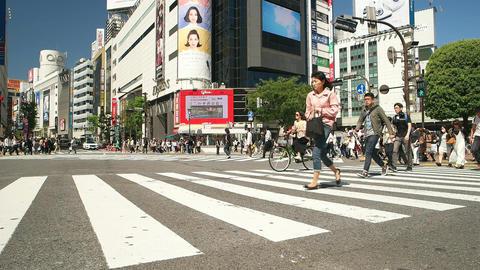 Tokyo- May 2016: People at Shibuya crossing. Slow motion Footage