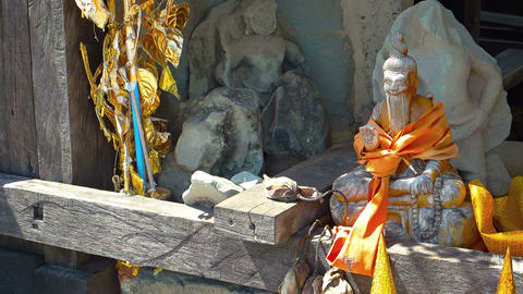 Religious Altar on a Public Street in Cambodia. FullHD video Footage