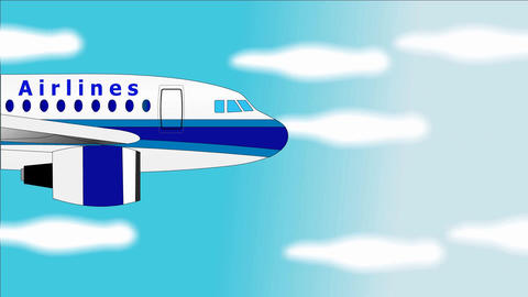 Airplane flies in blue sky - Banner with chromokey screen... Stock Video Footage