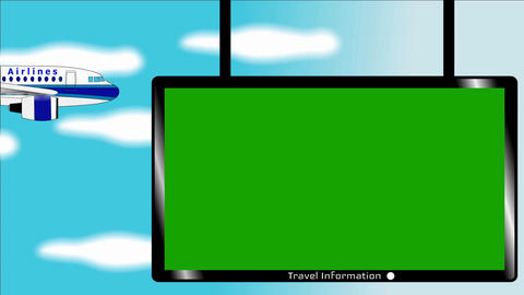 Airplane flies in blue sky - Banner with chromokey screen…, Stock Animation