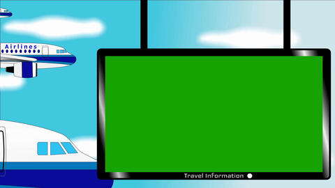 Airplane flies in blue sky - Banner with chromokey screen - Information table Animación