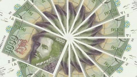 Spain Peseta Banknote Transition Aperture Style Animation