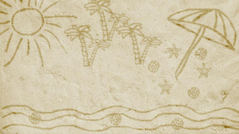 Animation On Sand - Cartoon - Doodle Style - Background - Greeting Card Animation
