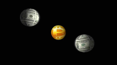 Money Planets Move Around Sun Bitcoin. Dollar Bills And Bitcoin Symbol CG動画素材