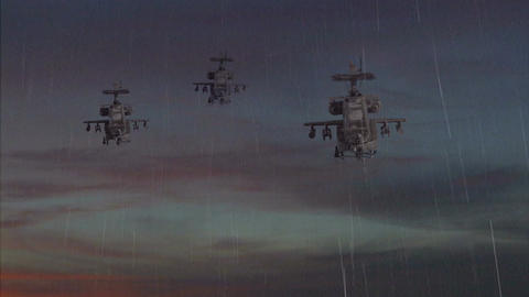 Three-gunship-sky-rain-explosion 1 Live Action