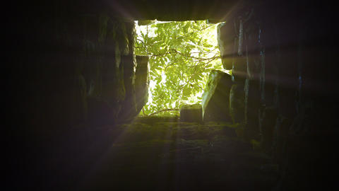 Sunshine Filters down a Shaft in an Ancient Temple Ruin. Video Footage