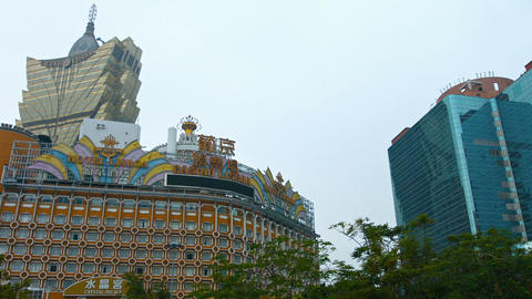 Exterior of Grand Lisboa Hotel and Casino in Macau. FullHD video Footage