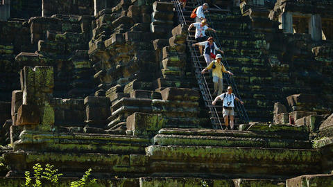 Tourists at Baphuon Temple at Angkor. Cambodia. FullHD video Live Action