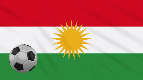Kurdistan flag and soccer ball rotates on background of waving cloth, loop Animation