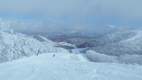 スキー滑走とスキーゲレンデの樹氷(霧氷) ライブ動画