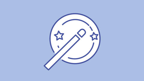 Magic wand line icon on the Alpha Channel Animation