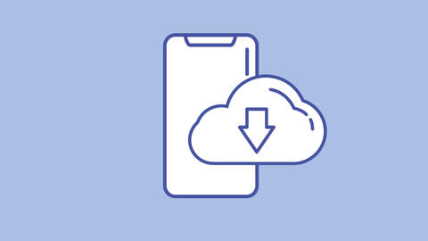 Cloud storage line icon on the Alpha Channel Animation