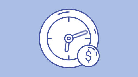 Clock and cash line icon on the Alpha Channel Animation