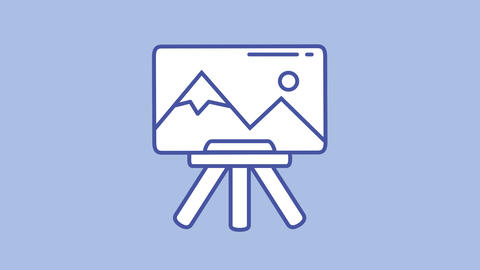 Painting easel line icon on the Alpha Channel Animation