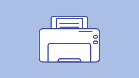 Printer line icon on the Alpha Channel Animation