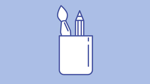 Pencil stand line icon on the Alpha Channel Animation