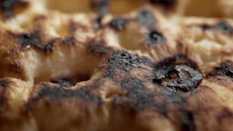 Toasted Crumpet texture extreme close up stock footage Live Action