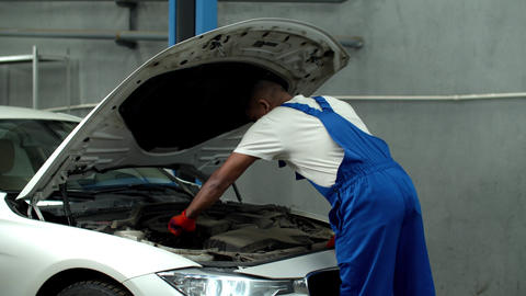 Mechanic opens the hood of a car and looks at the motor Live Action