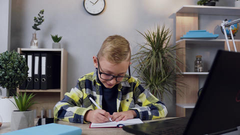 Front view of good-looking careful 10-aged modern boy in glasses which writing Live Action