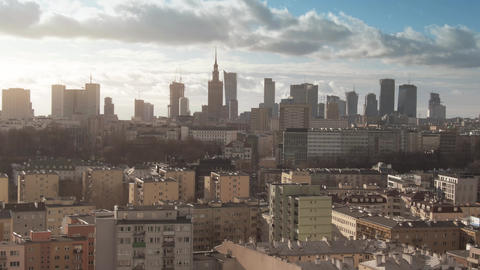 Aerial shot of Warsaw cityscape, Poland Live Action