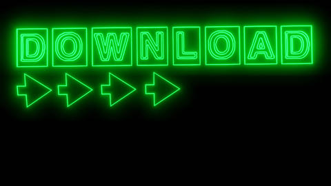 Download banner with animated lettering in neon green design, animated arrow Animation