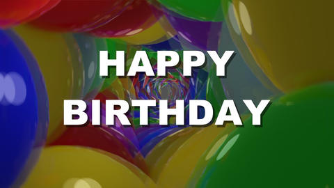 Happy birthday white lettering on tunnel background composed of shiny Animation