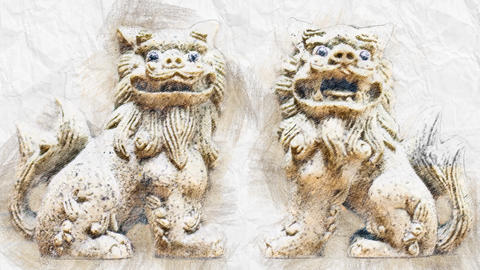 4K Shisa Chinese Home Protector Lions Handdraw Oriental Art Animation