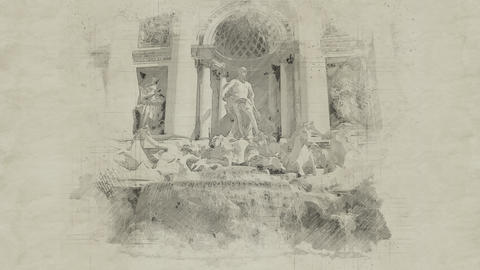 4K Trevi Fountain Fontana Di Trevi in Italy Rome Vintage Artwork Animation