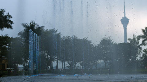 Decorative. Lighted Fountain in Macau China. FullHD video Footage