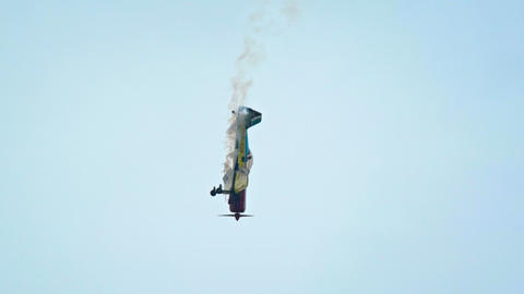 single-seater aerobatics plane. FullHD video Footage
