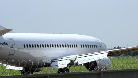 Extra close-up of an airplane Boeing 737-500, back view Footage