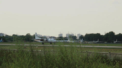 AN-26 Antonov landing on the runway Footage