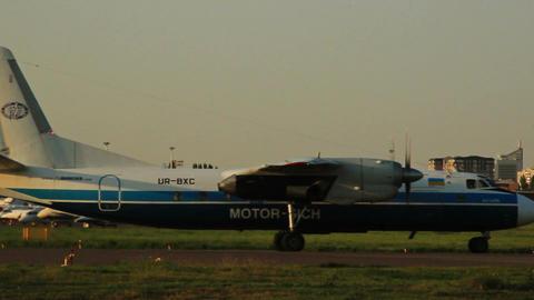 Antonov AN-24RV on the runway Footage