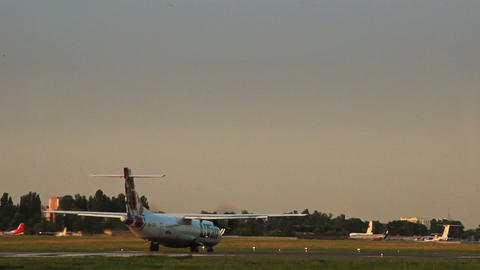 Airliner Utair Airlines ATR 72-500 passes by Footage