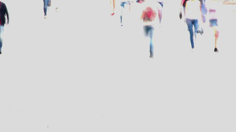 Time-lapse of people walking crowd on white background, city day Footage