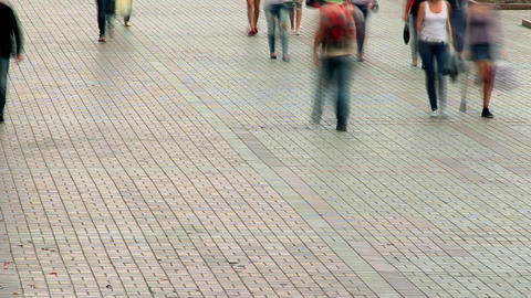 Time lapse of people on street, holiday walking crowd pavement Footage