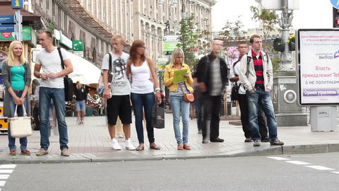 Crowd on street crossing road timelapse, city pedestrian holiday Footage