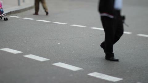 Mini city timelapse of people crowd walk on crossroad pedestrian Footage