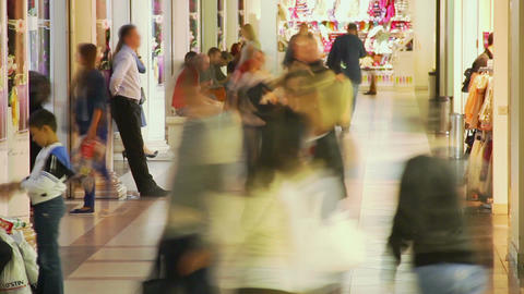 Timelapse people walking in shopping center, trade centre crowd Footage
