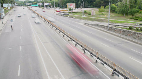 Time-lapse passing city traffic working day bridge, cars drive Footage