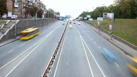 Time-lapse passing city cars, fast motion traffic, top view day Footage